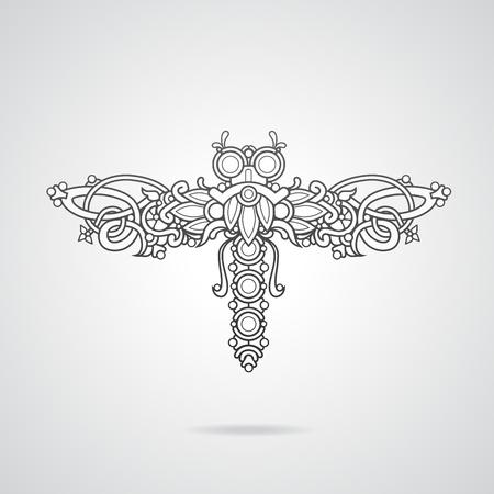 Dragonfly shaped ornament vector illustration Vector