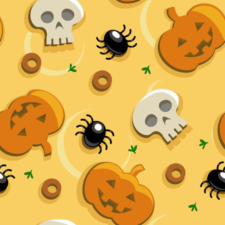 Halloween pizza seamless background with pumpkins, skulls and spider olives Vector