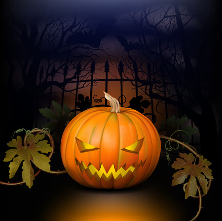 Halloween background with pumpkin, leaves, bats, trees and cemetery fence Vector