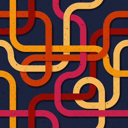 intertwined: Abstract colorful retro seamless pattern background with intertwined lines and  texture