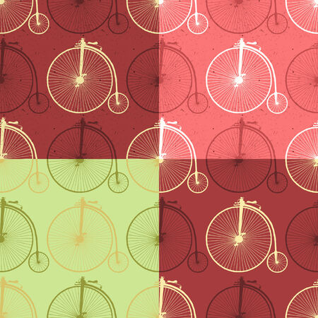 old bicycle: Set of abstract seamless patterns with vintage bicycle and texture  Vector illustration, easy editable