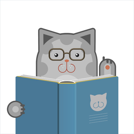 Illustration of smart cute cat with glasses reading the book  Vector