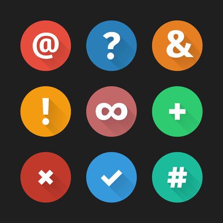Set of simple social web icons with shadows in flat design  Vector illustration, easy editable  Vector