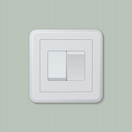 Realistic plastic white double light switch in different positions. Vector illustration, easy editable.
