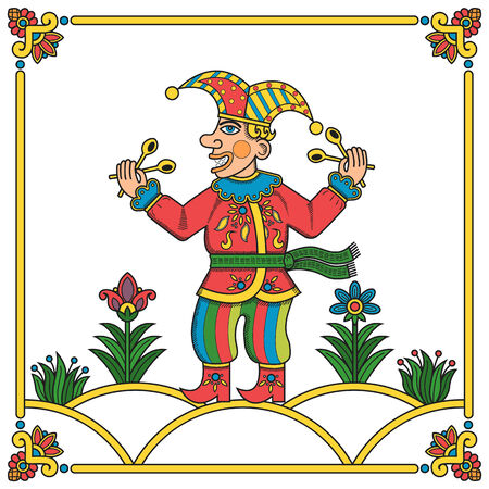 minstrel: Russian traditional popular print style jester  skomorokh   Vector illustration, easy editable