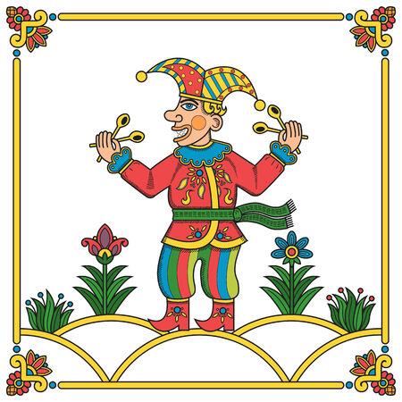 Russian traditional popular print style jester  skomorokh   Vector illustration, easy editable