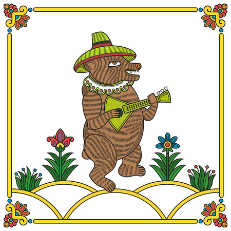 balalaika: Russian traditional popular print style bear with balalaika  Vector illustration, easy editable