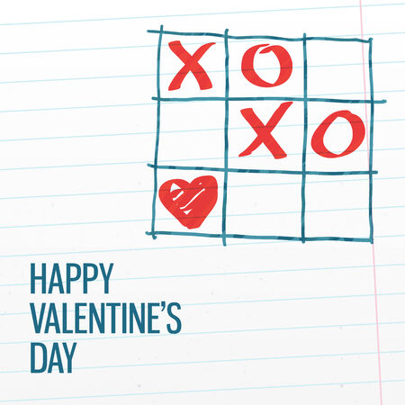 xoxo: Happy Valentines day xoxo tick-tack-toe greeting card with paper texture background. Vector illustration, easy editable.