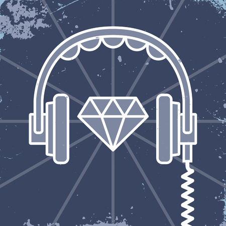 dubstep: Headphones with shining jewel design element with grunge texture. Vector illustration, easy editable. Illustration