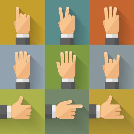 llano: Los dedos y gestos de palma en estilo plano. Ilustración del vector, fácil editable.