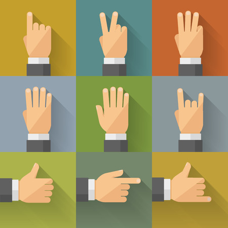 Fingers and palm gestures in flat style. Vector illustration, easy editable.
