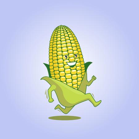 Cute fresh running cartoon athletic maize. Vector illustration, easy editable.