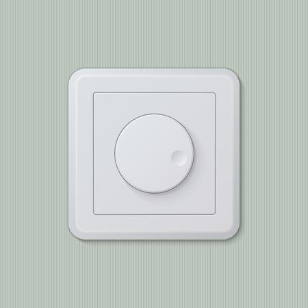 dimmer: Realistic plastic white dimmer light switch. Vector illustration, easy editable.