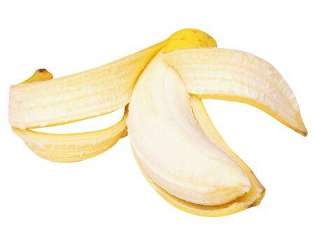 peeled banana on white