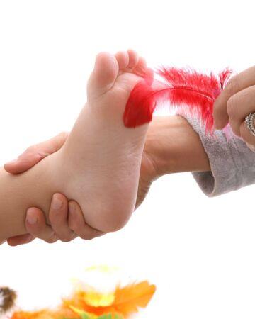 Feder den füßen mit kitzeln an Füße kitzeln