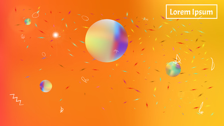 A space themed background illustration. Usefull hi-res and fresh. Illustration, modern. Stars, planets, signs. Colorful universe new space background.