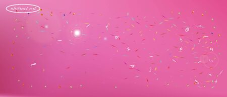 Clean space and signs confetti. Background texture. Signs colorific illustration. Ultra Wide background art inspire. Colorful clear abstraction. Pink colored main theme.