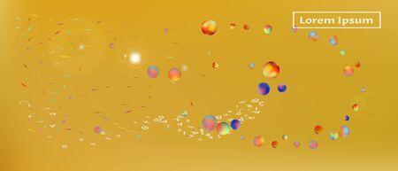 Pristine space and signs confetti. Background colorful. Minimal colorific illustration. Ultra Wide background art inspire. Colorful pristine abstraction. Gold colored. Illustration