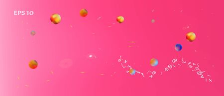 Recent space and signs confetti. Background smooth. Minimal colorific illustration. The good Ultra Wide themed background illustration. Colorful pure abstraction. Magneta main theme. Çizim