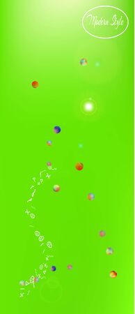 Pristine space and signs confetti. Funny colorific illustration. Background blur. Light Ultra Wide portrait background. Colorful clean abstraction. Green colored theme. 스톡 콘텐츠 - 127680418