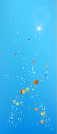 Pure space and signs confetti. Background colorful. Usefull colorific illustration. Abstract Ultra Wide portrait background picture. Colorful fresh abstraction. Blue colored theme.