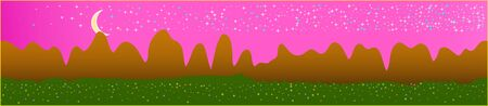 Pink sky, and mountains landscape. Panoramic horizontal design. Trendy panoramic design. Fresh glass print fantasy. Horizon, texture. Old game style.  イラスト・ベクター素材