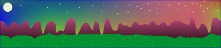 Fancy sky, and mountains landscape. Fairy tale panoramic landscape. Landscape fable. Cool glass print fantasy. Horizon, graphic. Old game style. Stock Illustratie
