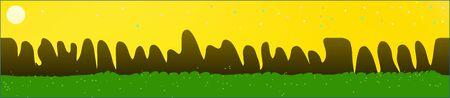 Yellow sky, and mountains landscape. Plain horizontal background illustration. Trendy fairy tale plain design. Recent glass print fantasy. Horizon, blur. Old game style.