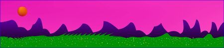 Pink sky, and mountains landscape. Panoramic horizontal design. Trendy panoramic design. Pure glass print fantasy. Horizon, mesh. Old game style.