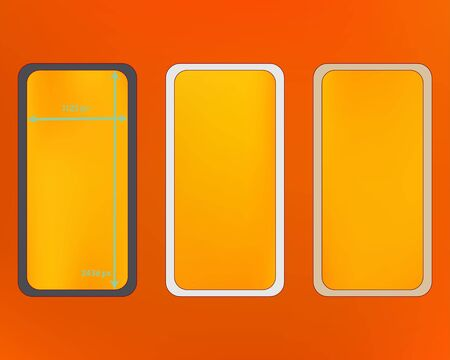 Mesh, orange red colored phone backgrounds kit. Liquid screen design set, isolated background. Common backdrop. Crisp separated groups, easy to edit EPS. 2436x1125 ratio.