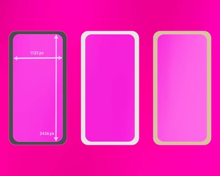 Mesh, pink colored phone backgrounds kit. Ordinary screen design set, isolated background. Recent separated groups, easy to edit EPS. Elementary backdrop. 2436x1125 ratio.