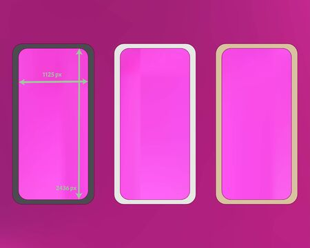 Mesh, magenta colored phone backgrounds kit. Recent separated groups, easy to edit EPS. Ordinary backdrop. Plain screen design set, isolated background. 2436x1125 ratio. Ilustração