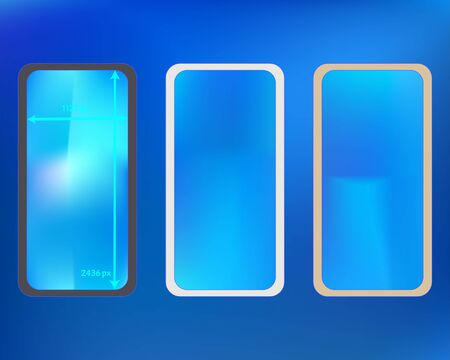 Mesh, azure colored phone backgrounds kit. Fresh separated groups, easy to edit EPS. Usefull backdrop. Common screen design set, isolated background. 2436x1125 ratio.