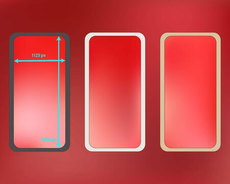 Mesh, coral colored phone backgrounds kit. Crisp separated groups, easy to edit EPS. Common screen design set, isolated background. Professional backdrop. 2436x1125 ratio.
