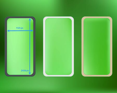 Mesh, lime colored phone backgrounds kit. Liquid screen design set, isolated background. Creative backdrop. Recent separated groups, easy to edit EPS. 2436x1125 ratio.