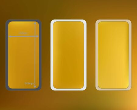 Mesh, gold colored phone backgrounds kit. Crisp separated groups, easy to edit EPS. Creative screen design set, isolated background. Minimal backdrop. 2436x1125 ratio. Stock Illustratie