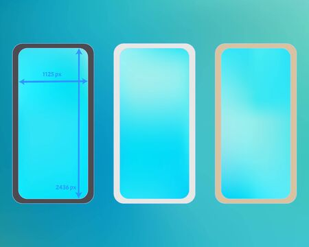 Mesh, cyan colored phone backgrounds kit. Net separated groups, easy to edit EPS. Minimal backdrop. Ordinary screen design set, isolated background. 2436x1125 ratio. Ilustracja
