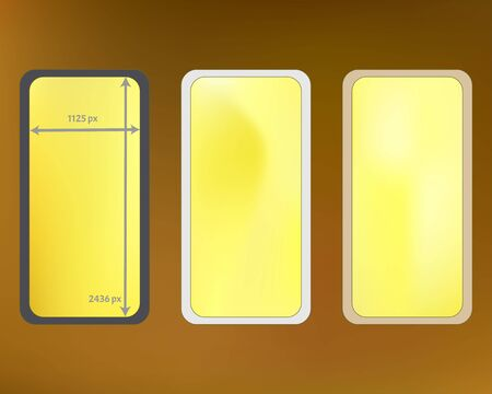 Mesh, gold colored phone backgrounds kit. Funny screen design set, isolated background. Plain backdrop. Pure separated groups, easy to edit EPS. 2436x1125 ratio.