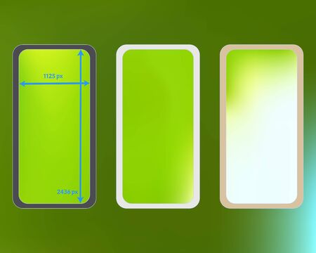 Mesh, green colored phone backgrounds kit. Elementary screen design set, isolated background. Professional backdrop. Crisp separated groups, easy to edit EPS. 2436x1125 ratio.