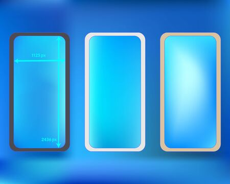 Mesh, azure colored phone backgrounds kit. Recent separated groups, easy to edit EPS. Liquid backdrop. Elementary screen design set, isolated background. 2436x1125 ratio.