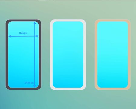 Mesh, cyan colored phone backgrounds kit. Net separated groups, easy to edit EPS. Common screen design set, isolated background. Professional backdrop. 2436x1125 ratio.