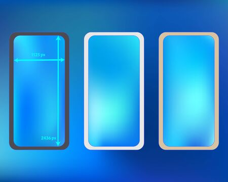 Mesh, azure colored phone backgrounds kit. Net separated groups, easy to edit EPS. Professional backdrop. Creative screen design set, isolated background. 2436x1125 ratio.