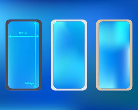 Mesh, azure colored phone backgrounds kit. Minimal backdrop. Pristine separated groups, easy to edit. Professional screen design set, isolated background. 2436x1125 ratio.