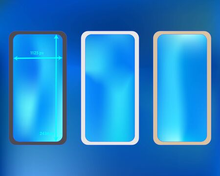 Mesh, azure colored phone backgrounds kit. Fresh separated groups, easy to edit. Creative screen design set, isolated background. Minimal backdrop. 2436x1125 ratio. Иллюстрация