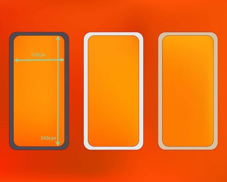 Mesh, orange red colored phone backgrounds kit. Usefull screen design set, isolated background. Ordinary backdrop. Pure separated groups, easy to edit. 2436x1125 ratio.