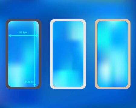 Mesh, azure colored phone backgrounds kit. Funny backdrop. Professional screen design set, isolated background. Pure separated groups, easy to edit. 2436x1125 ratio.