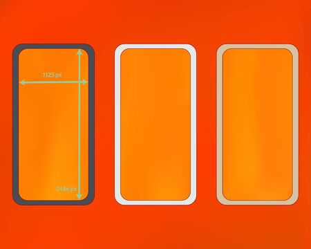 Mesh, orange red colored phone backgrounds kit. Ordinary screen design set, isolated background. Net separated groups, easy to edit. Usefull backdrop. 2436x1125 ratio. Иллюстрация