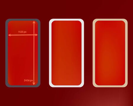 Mesh, red colored phone backgrounds kit. Cool separated groups, easy to edit. Usefull screen design set, isolated background. Creative backdrop. 2436x1125 ratio. Иллюстрация