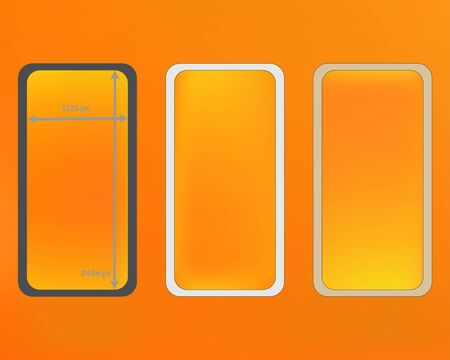 Mesh, yellow colored phone backgrounds kit. Crisp separated groups, easy to edit. Elementary screen design set, isolated background. Professional backdrop. 2436x1125 ratio.  イラスト・ベクター素材