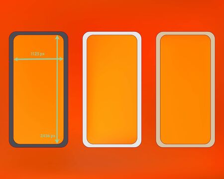 Mesh, orange red colored phone backgrounds kit. Recent separated groups, easy to edit. Usefull screen design set, isolated background. Minimal backdrop. 2436x1125 ratio.